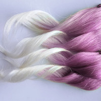 Pink Cupcake Ombre 100% Human Hair Extensions Dip Dyed Clip In Light Pink and White Blonde Tip Hair