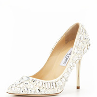 JIMMY CHOO - Trina Pointy-Toe Jewel Pump, White