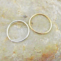 Nose Rings, Set of Two, 14K Gold Filled,  Argentium Sterling Silver, Cartilage Hoop, 22 Gauge