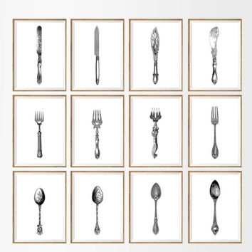 Antique Cuttery Art Print SET of 9. UNFRAMED.  knife fork spoon, kitchen wall art, french kitchen, kitchen art print set, kitchen artwork