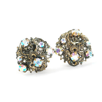Vintage Aurora Borealis Rhinestone Earrings (GERMANY, Glass Crystals, Ornate Brass Filigree, Clip-on Earrings, 1940s Retro Costume Jewelry)