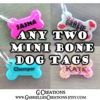 Bundle ANY TWO Small Bone Dog ID Tags - Personalized Pet Name Tag - Glow in the Dark - Colorful Glitter Pet Collar Accessory - Sale Set Pack