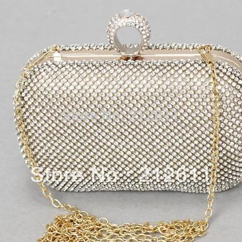 2016 New Arrival Limited Minaudiere Day Clutches Mini(<20cm) Bolsa Handbags The Pop Selling Metal Case With Diamond Clutch Bags