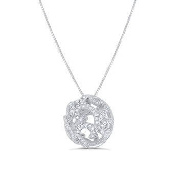 Sterling Silver Cz Filigree Ball Necklace 18""