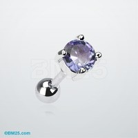Round Gem Prong Tragus Barbell