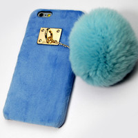 Furry Rabbit Tail creative Case Hnadmade Cover for iPhone 7 se 5s 6 6s Plus With Fur Tail + Gift Box
