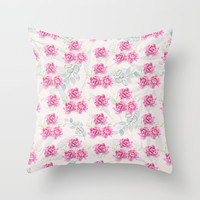 watercolor peonies Throw Pillow by sylviacookphotography