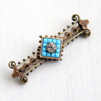 Antique Gold Washed Simulated Turquoise & Rhinestone Brooch - Victorian Early 1900s Hallmarked PSCO Teal Blue Glass Stone Jewelry Bar Pin