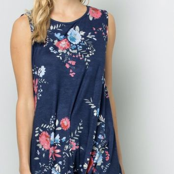 Floral Tie Knot Tank in Navy