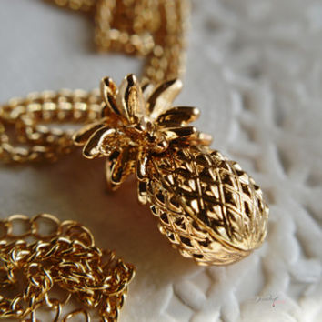 14kt Gold plated Pineapple charm necklace Hawaiian themed Food jewelry