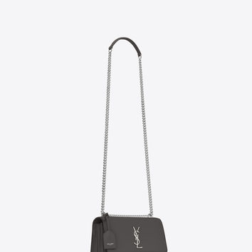 Medium SUNSET bag in asphalt gray leather