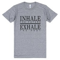 Inhale Exhale-Unisex Athletic Grey T-Shirt