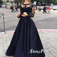 Round Neck Long Sleeves 2 Pieces Black Lace Prom Dresses, Black Lace Formal Dresses