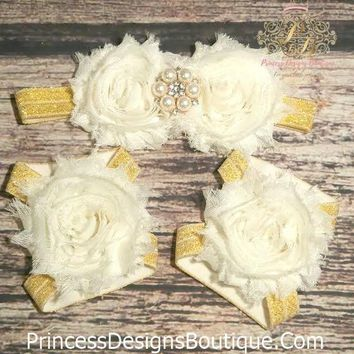 Fancy Cream and Gold Headband and Barefoot Sandals Set