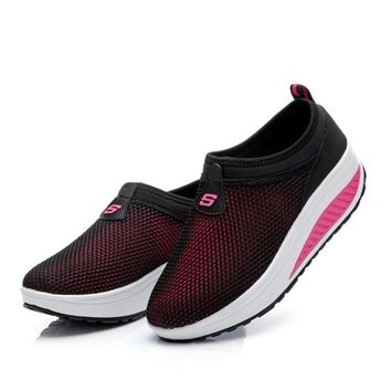 Mesh Swing Wedges Sneakers Female New Summer Outdoor Jogging Sports Shoes Damping Training Shoes Women Running Shoes