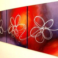 ARTFINDER: original triptych painting on canvas hand made flowers english countryside abstract landscape  floral flower artwork painting art canvas - 48 x 20 inches canva by Stuart Wright - original colour flower abstract canvas painting...