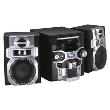 RCA iPod-Compatible 5-CD Changer Mini Stereo System - Black/Silver (RS2767IF)