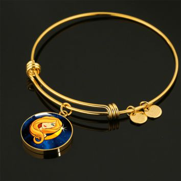 Zodiac Sign Virgo - 18k Gold Finished Bangle Bracelet