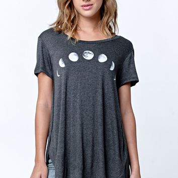 LA Hearts Moon Side Slit Longline T-Shirt - Womens Tee - Black