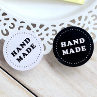 200PCS/lot Round Black and white HAND MADE Craft paper Sealing sticker/Vintage DIY Gifts posted/Baking Decoration label