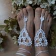 Foot Jewelry Anklet, White crochet anklet, nude shoes, barefoot sandals, wedding accessories, marine blue..