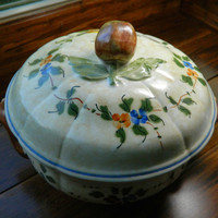 Vintage Covered Vegetable Bowl by Longchamp China - Pattern Nemours - Hand Painted in France