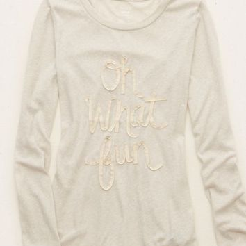 Aerie Women's Graphic Long Sleeve Best T (Heather Fawn)