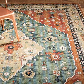 Abacasa Sonoma Aqua/Celadon/Rust/Tan Area Rug You'll Love | Wayfair