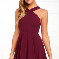 Forevermore Burgundy Skater Dress