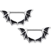 "14 Gauge 1/2"" Stainless Steel Halloween Bat Wings Nipple Clicker Set 