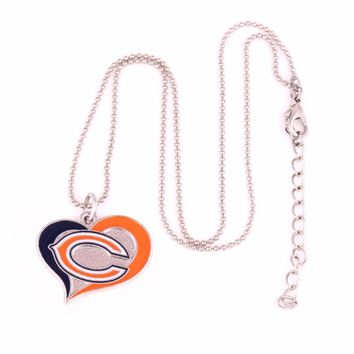 Chicago Bears Fans collection enamel single-sided Swirl Heart charm with copper popcorn chain sport Necklace Drop shipping