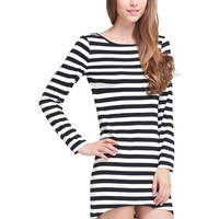 Black and White Long Sleeve Striped High-low Dress