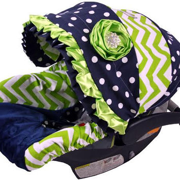 Infant Car Seat Cover, Baby Car Seat Cover Lime Chevron and Navy Dot, Adorable Infant Seat Cover