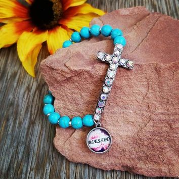 Blessed Cross Turquoise Stretch Bracelet