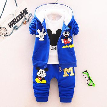 spring & autumn children's clothing suits Mickey hoodies +T-shirt +pants 3pcs children sports suit boys clothes set 1-5year