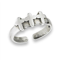 .925 Sterling Silver Triple Cross Toe Ring