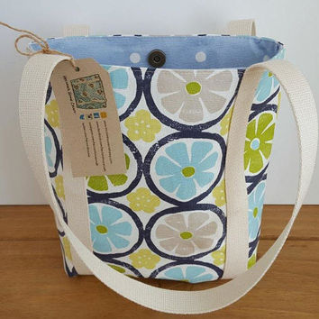 Every day work bag, Green and blue small tote, Fabric lunch bag for women, Canvas book, Bible or journal bag, Summer day bag, Bookbag,