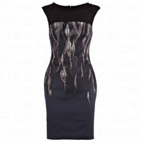 Bqueen Feather Print Dress Black and Multi K063E - Evening Dresses - Special Occasion Dresses - Apparel