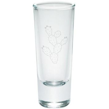 DCCKU3R Cinco de Mayo Prickly Pear Cactus Etched Shot Glass Shooter Set of 4