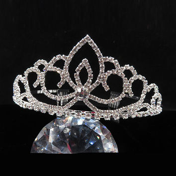 Wedding Party Bridal Bridesmaid Crystal Rhinestone Crown Headband Tiara Clasp Hair Clip Pin NB0178