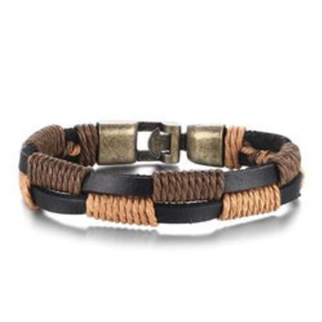 Artificial Faux Leather Hemp String Wrap Layered Bracelet For Men