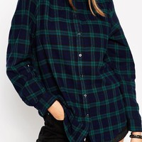 ASOS Boyfriend Shirt in Black Watch Check