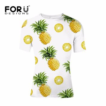 Men's Pineapple Print Crew Neck T Shirt
