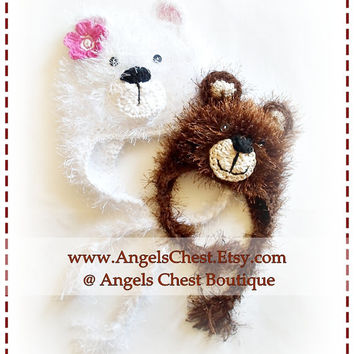 POLAR Bear and BROWN Bear Boy and Girl Crochet Hat PDF Pattern Sizes Newborn to Adult Boutique Design - No. 36 by AngelsChest