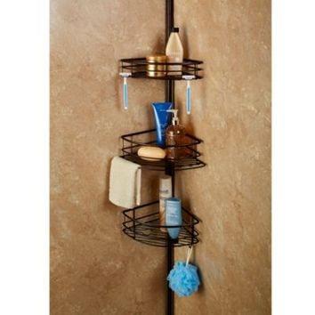 Spa Creations™ Colossal 3-Tier Pole Caddy with Shelves in Matte Bronze