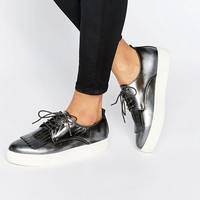 Dune Emmy Fringe Detail Lace Up Trainers at asos.com