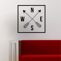 Arrows Compass Simple Square Design Quote Adventure Travel Wanderlust Wall Decal Sticker Vinyl Art Home Decor Decoration