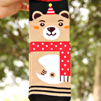 Muliticolor Little Bear Knitted Socks