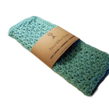 Handmade Crochet 100% Cotton Washcloth, Sea Spray/Teal, Housewarming Gift, Kitchen Cloth, Bath Cloth