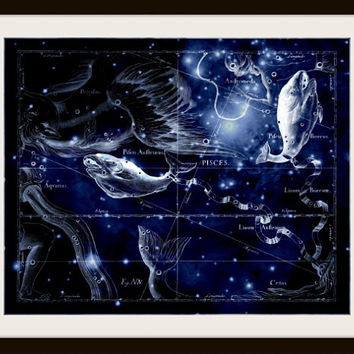 Pisces Constellation, Astronomy, Astrology, Zodiac, Metallic Black Print